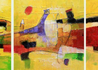 2010, Fiori di campo trittico 50x150 tecnica mista su tela
