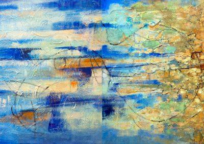 2013, Acqua e Terra, cm.70x200 tecnica mista su tela