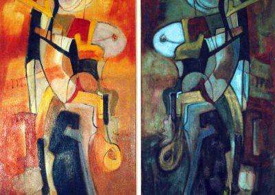 1996, Figure verticali allo specchio blu, cm.160x200 mixed media on canvas